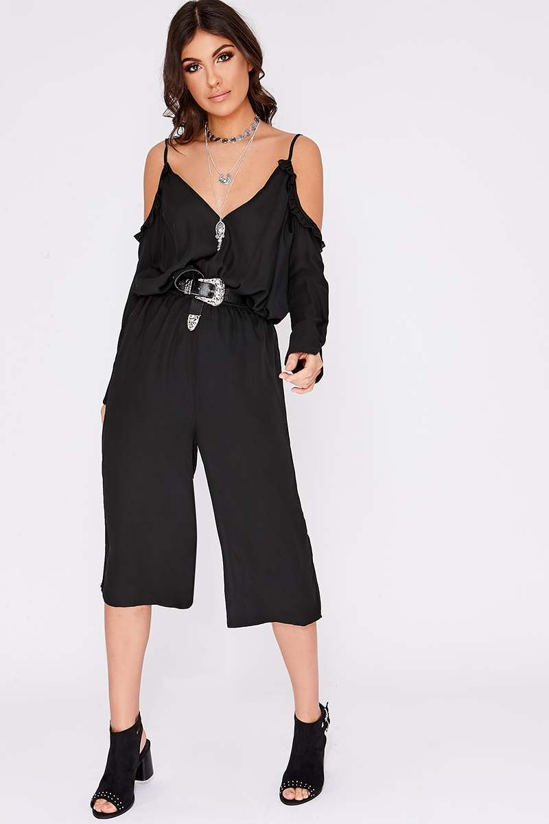 RHONDI BLACK FRILL COLD SHOULDER JUMPSUIT