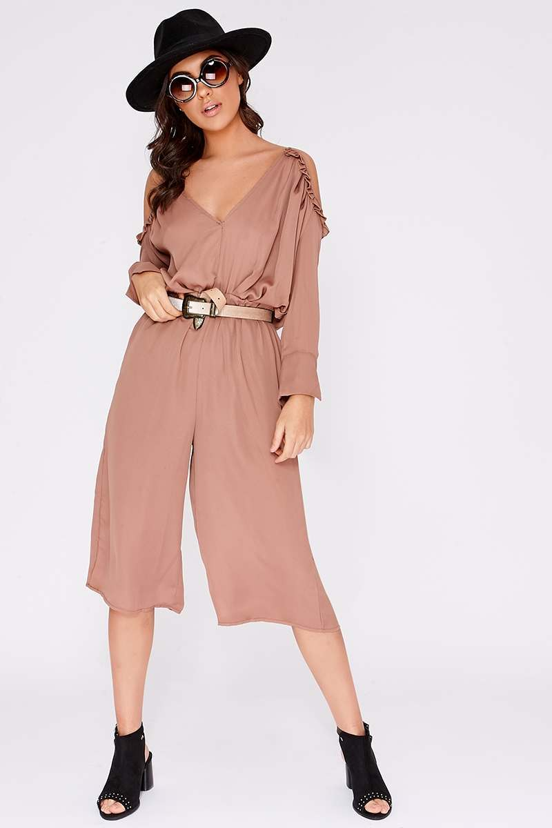 mocha frill cold shoulder jumpsuit