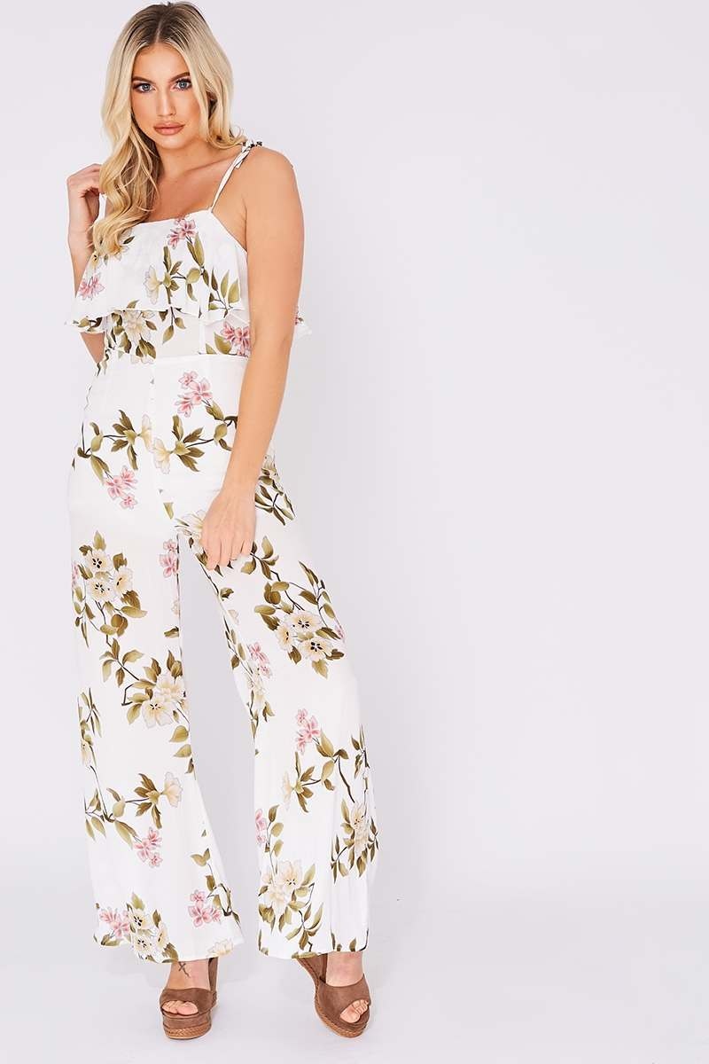 white floral frill jumpsuit