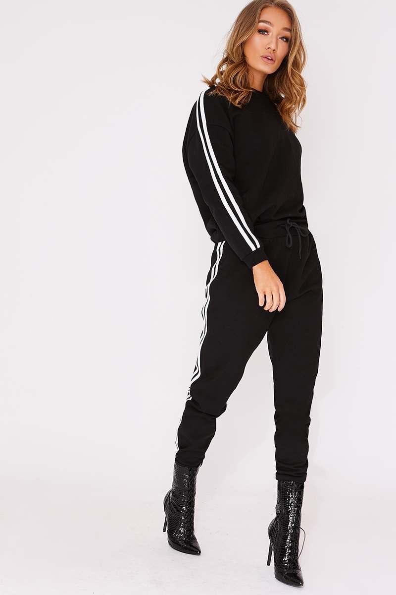 black sports stripe sweater loungewear set