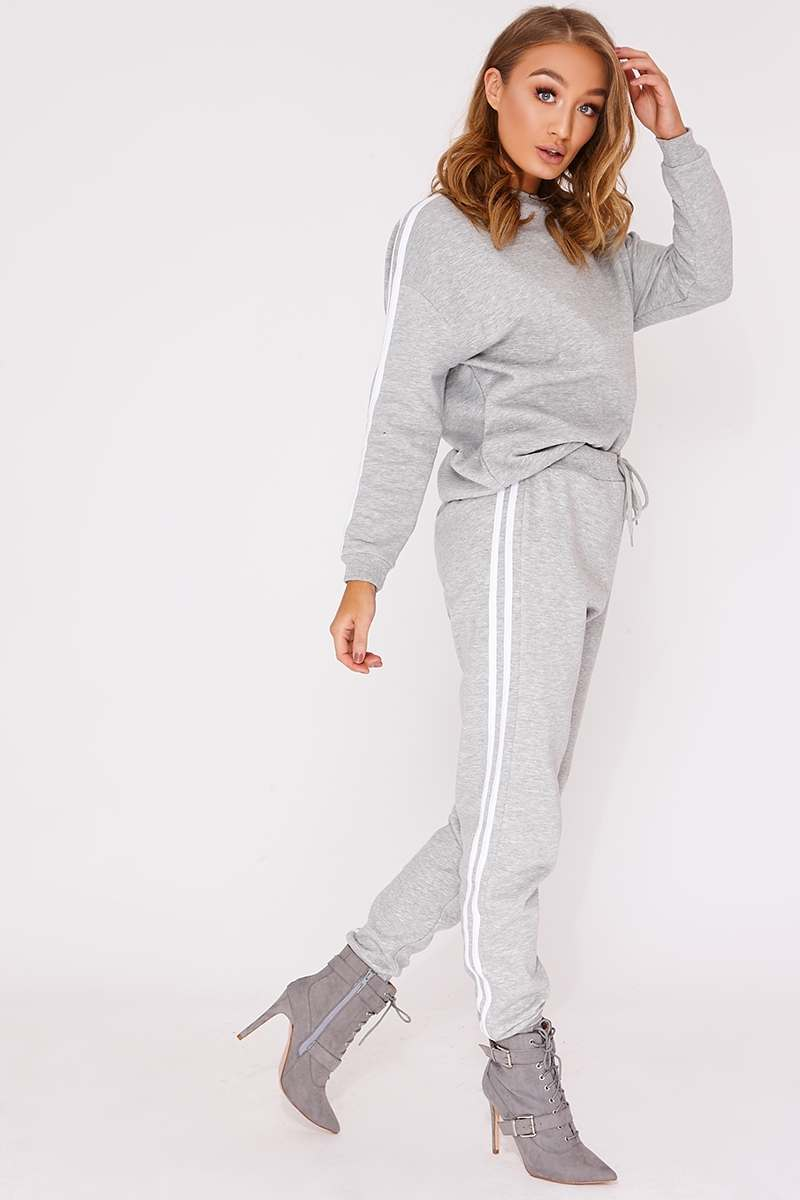 CALLI GREY MARL SPORTS STRIPE SWEATER LOUNGEWEAR SET