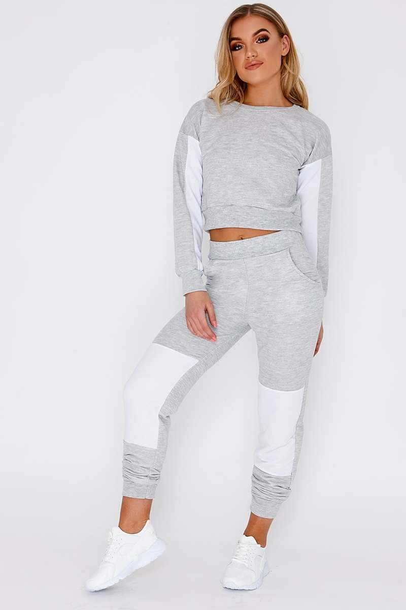 grey colour block tracksuit