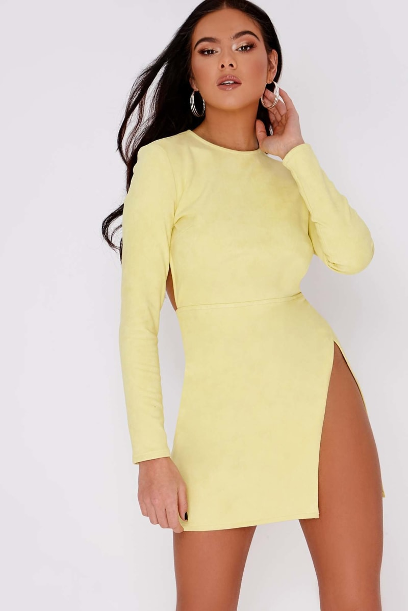 PIA MIA YELLOW FAUX SUEDE CUT OUT BACK MINI DRESS