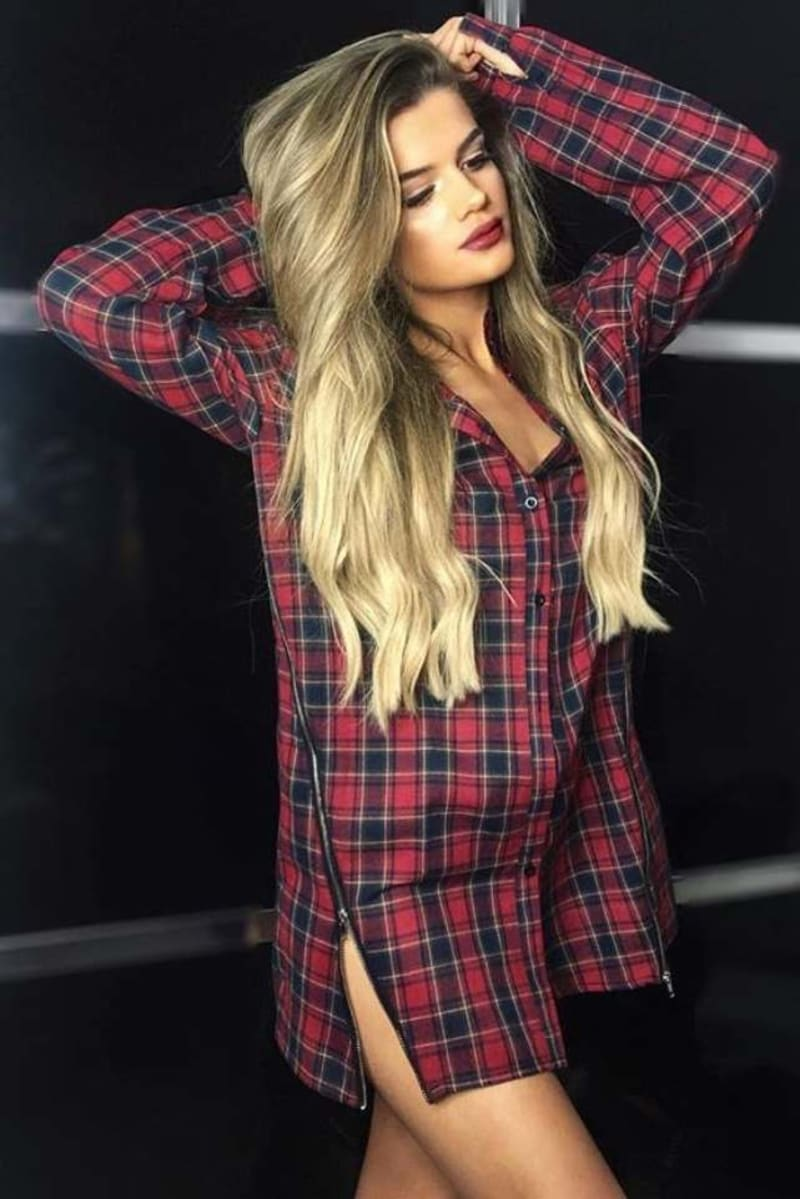 PIA MIA RED CHECK ZIP FRONT SHIRT DRESS