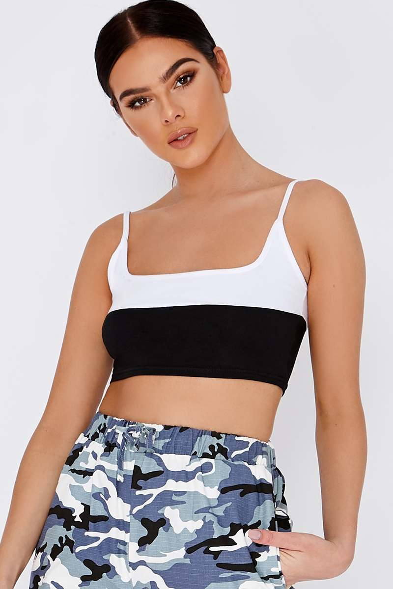 black two tone square neck crop top