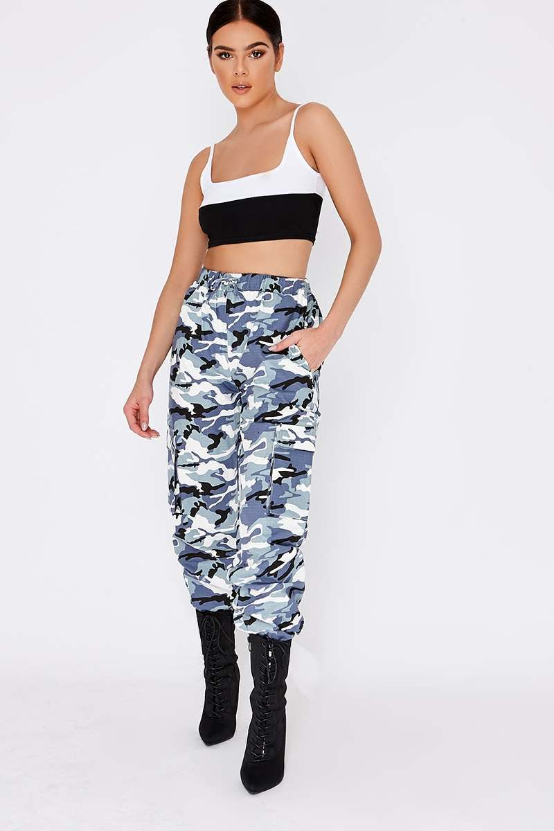 blue camo combat trousers
