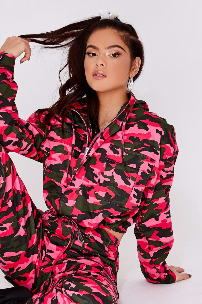 bright pink camo oversized hooded utility jacket