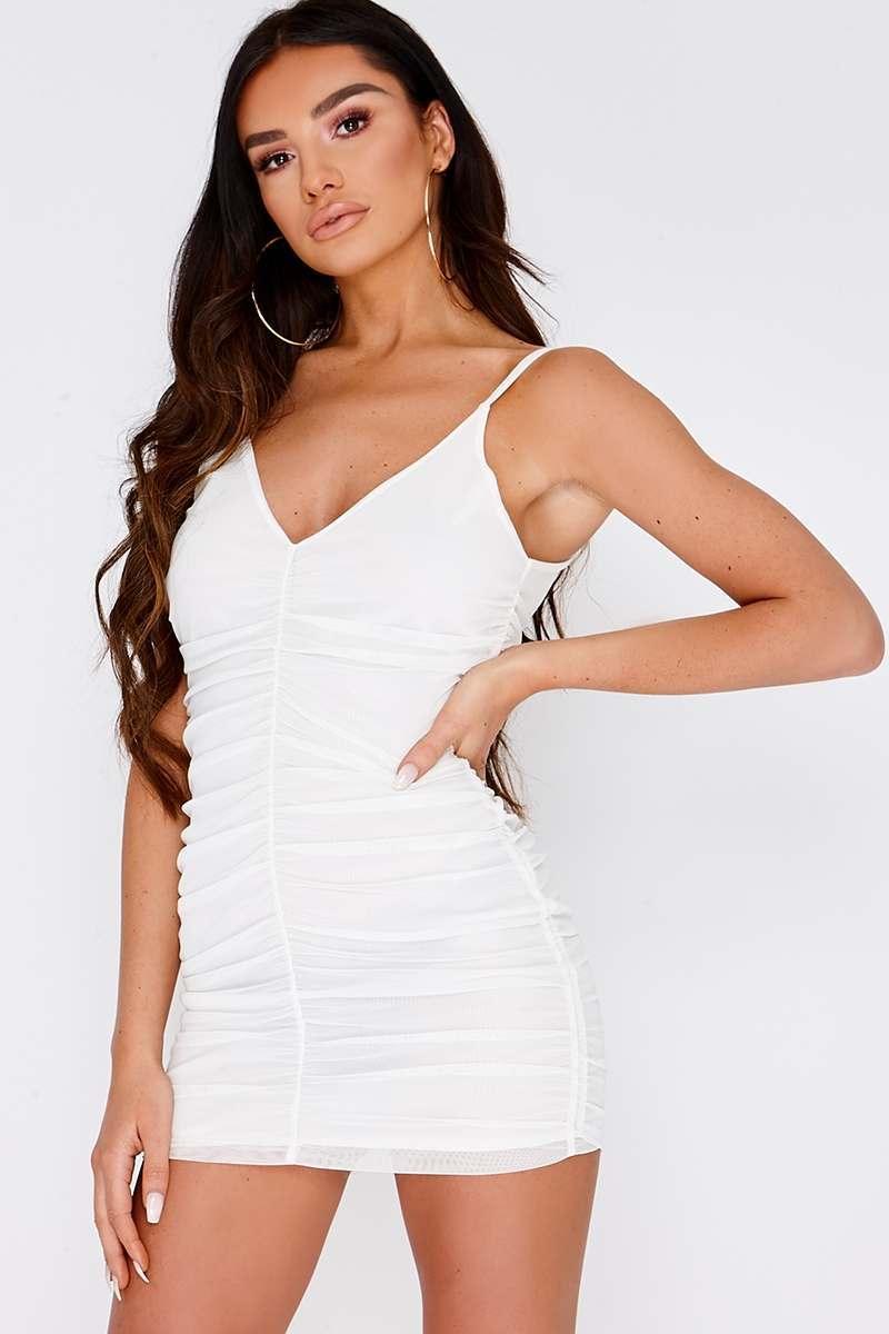 white ruched mesh mini dress
