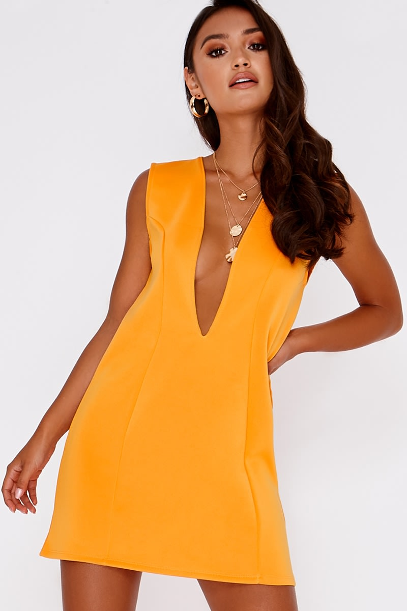 orange plunge mini dress