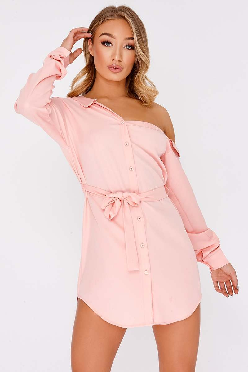 DULSE PINK ASYMMETRIC SHIRT DRESS