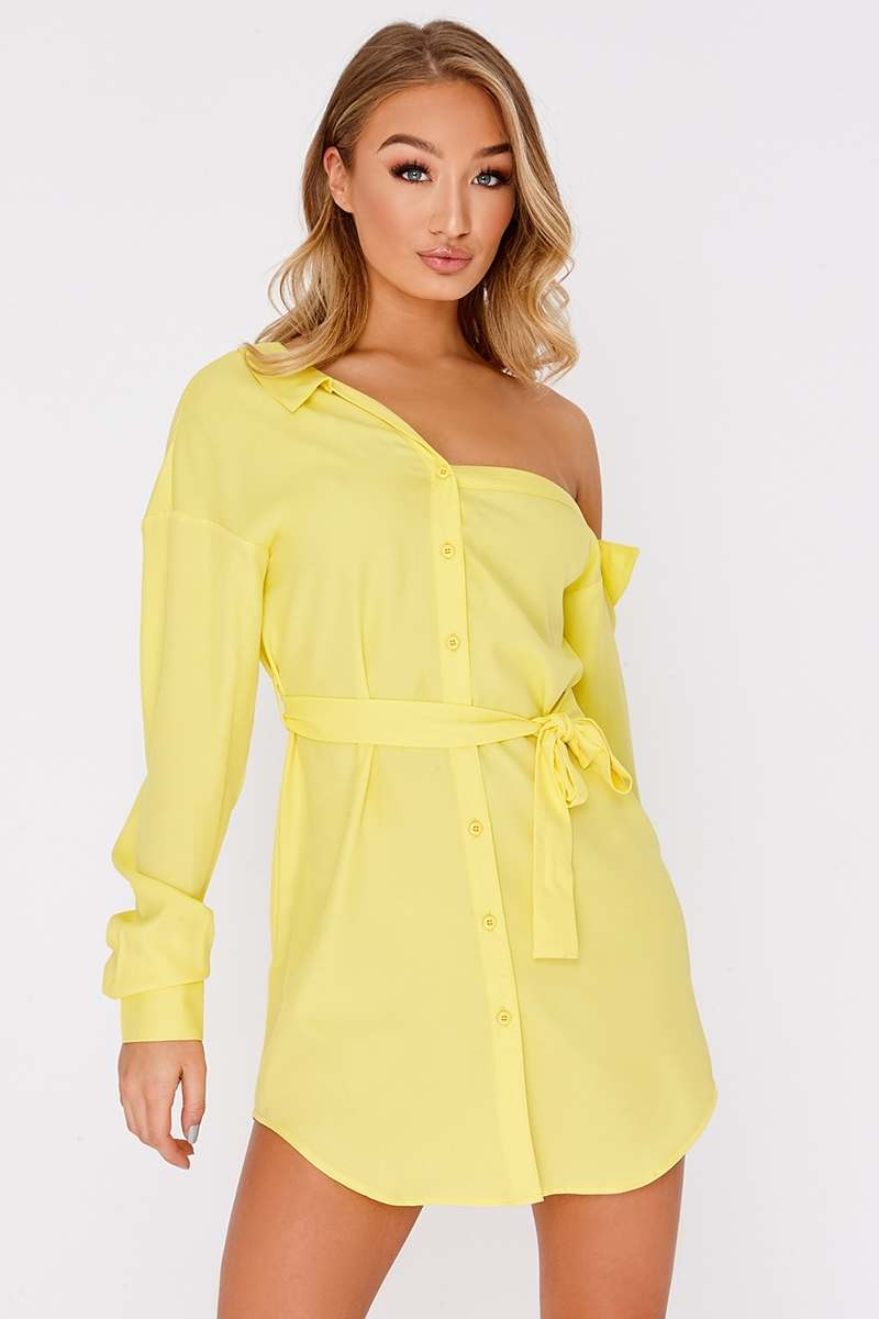 lemon asymmetric shirt dress