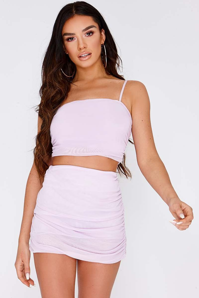 lilac ruched mesh crop top
