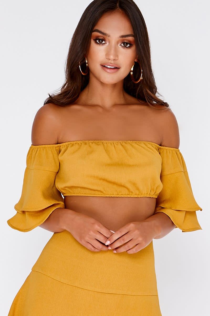 mustard bardot frill sleeve crop top