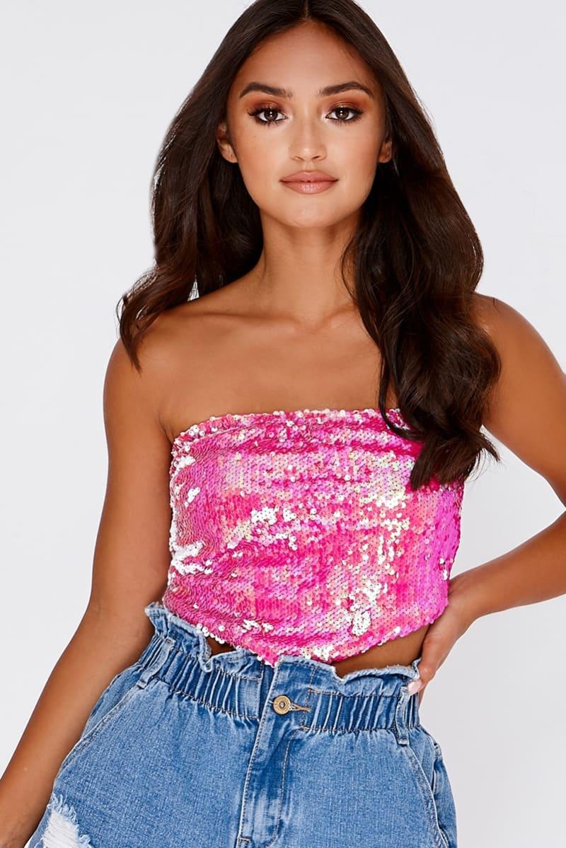 pink sequin handkerchief crop top