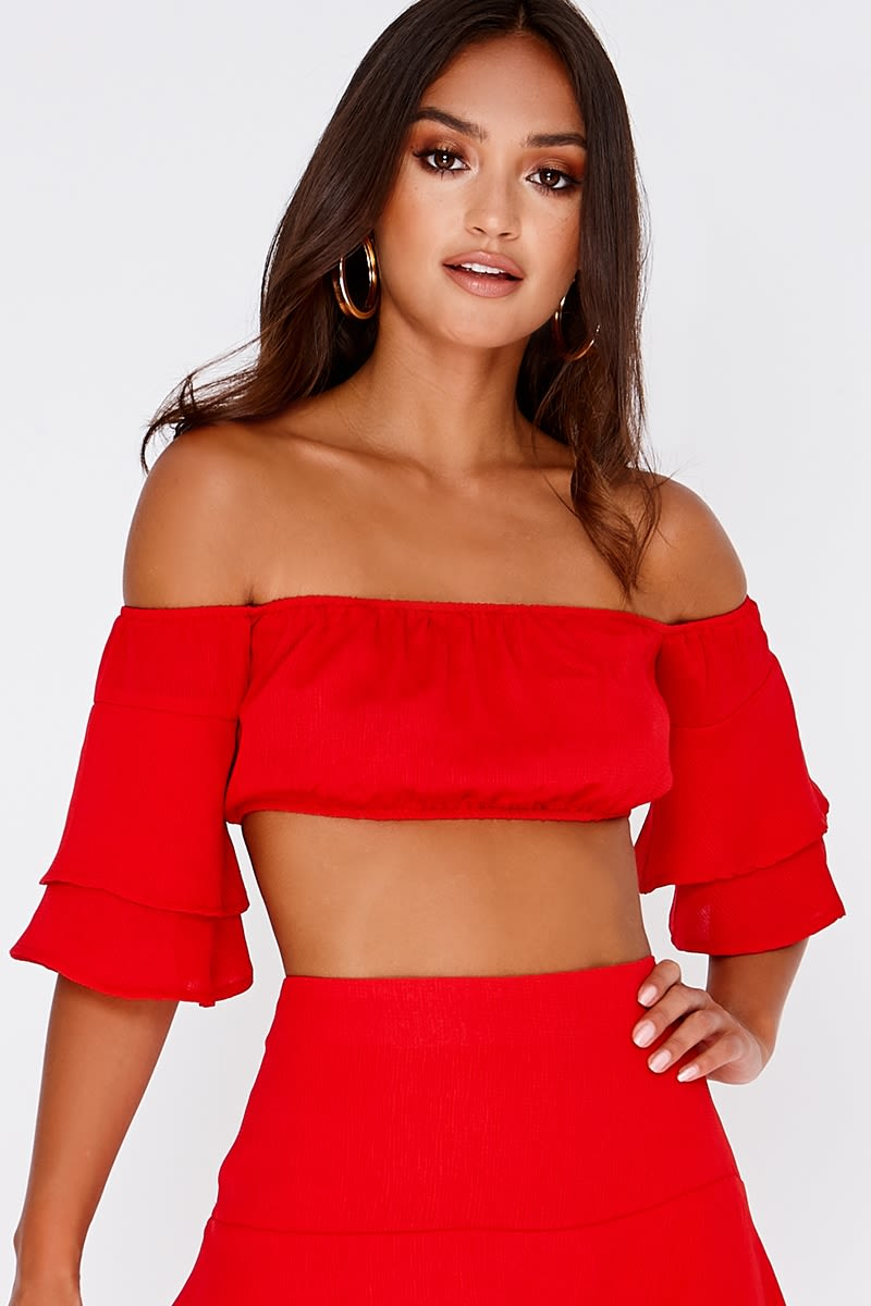 red bardot frill sleeve co-ord crop top