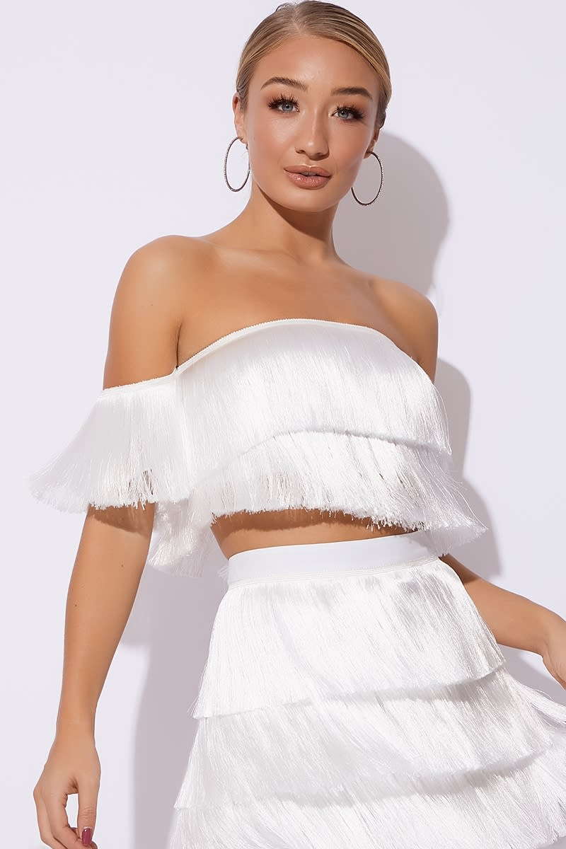white tassel bardot co-ord crop top