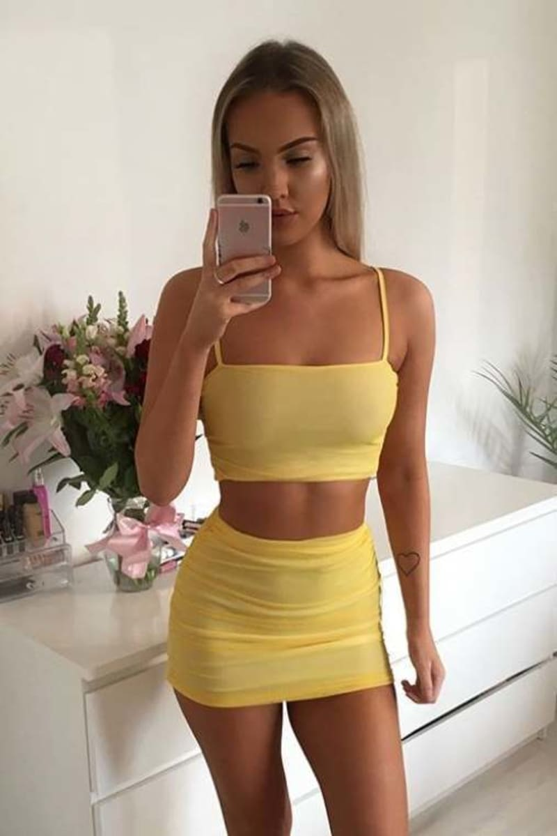yellow ruched mesh crop top