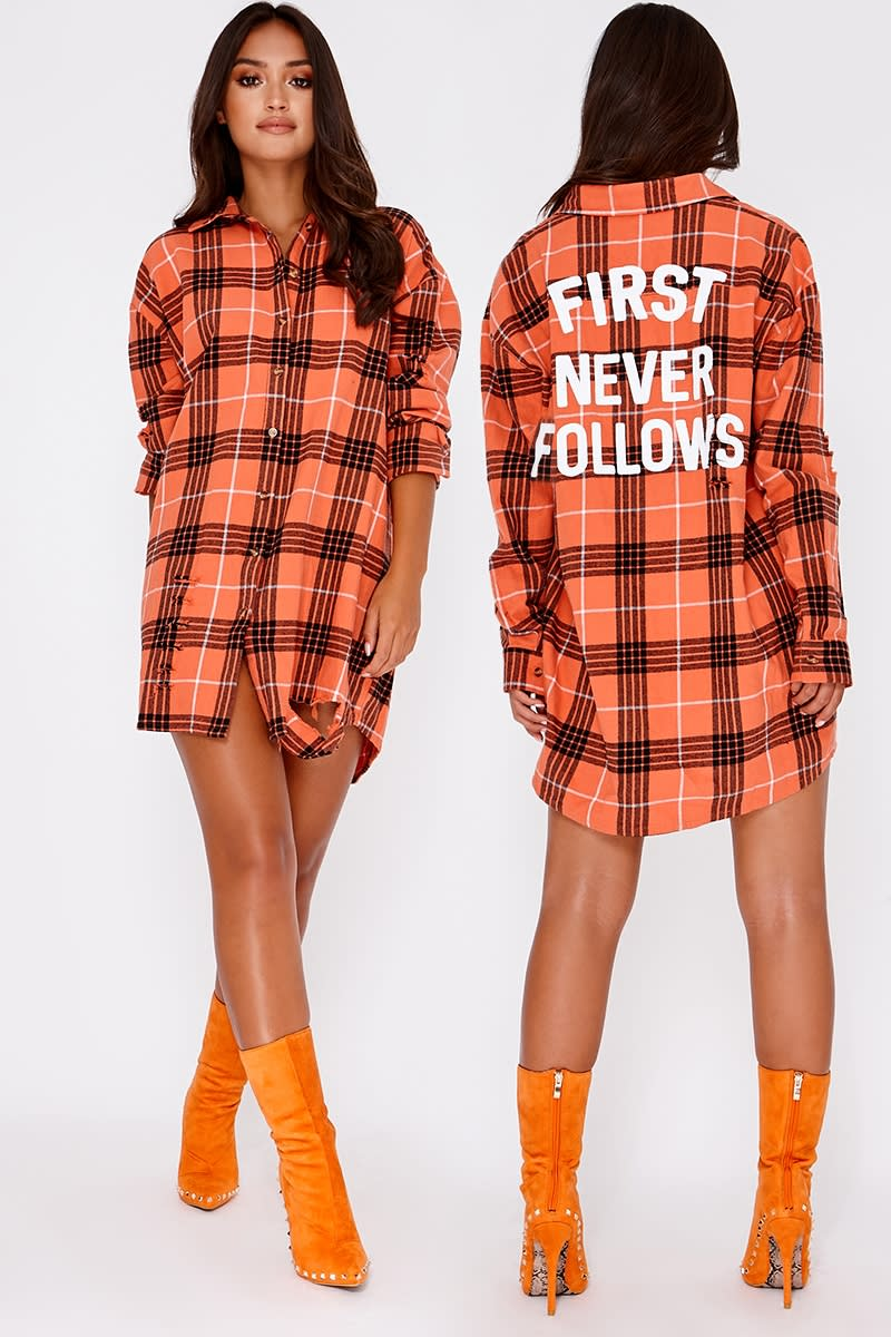 orange first never follows slogan oversized checked shirt