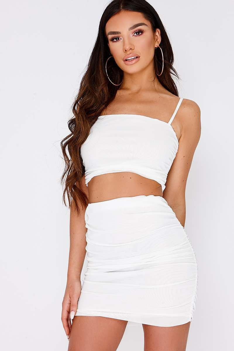 white ruched mesh mini skirt