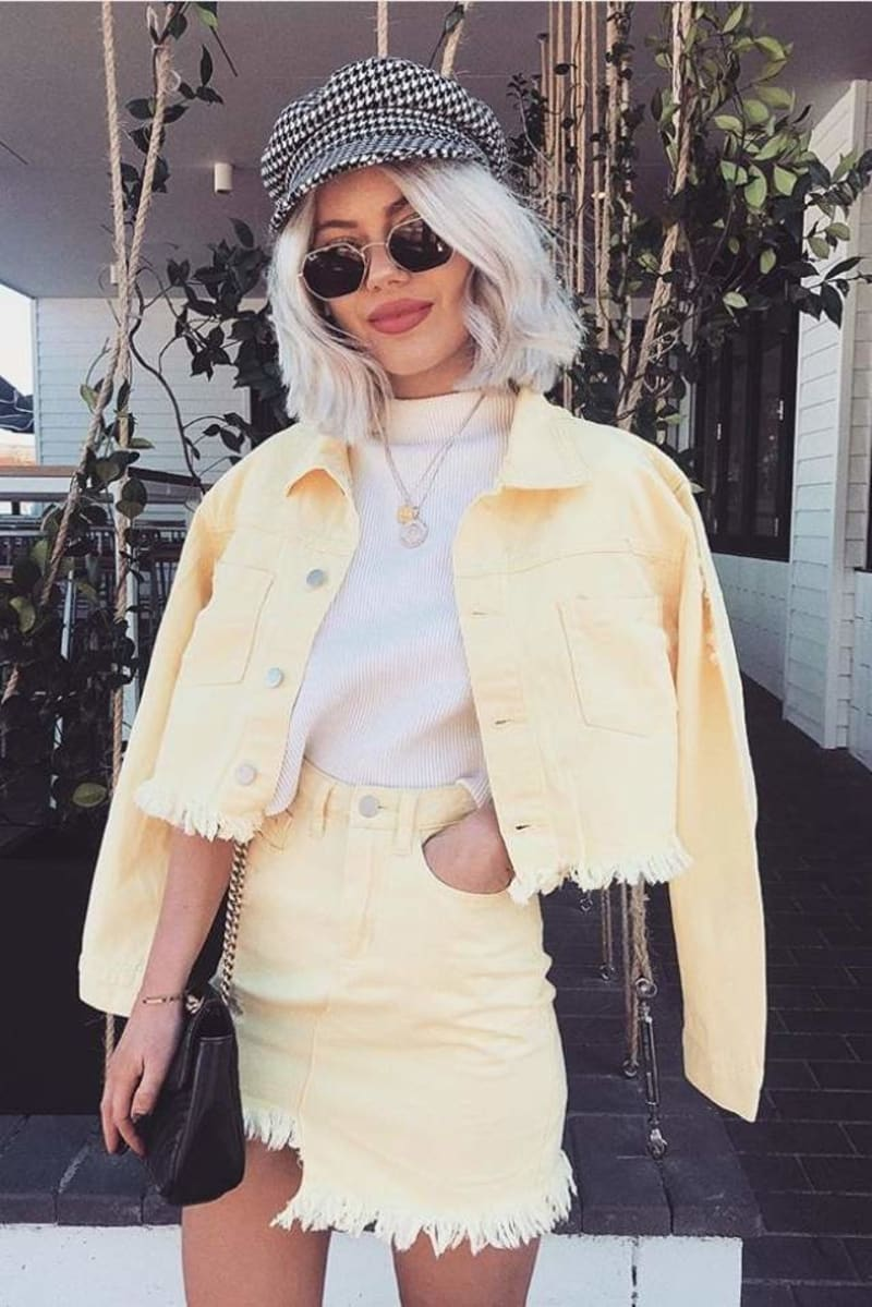 SARAH ASHCROFT LEMON FRAYED HEM CROPPED DENIM JACKET