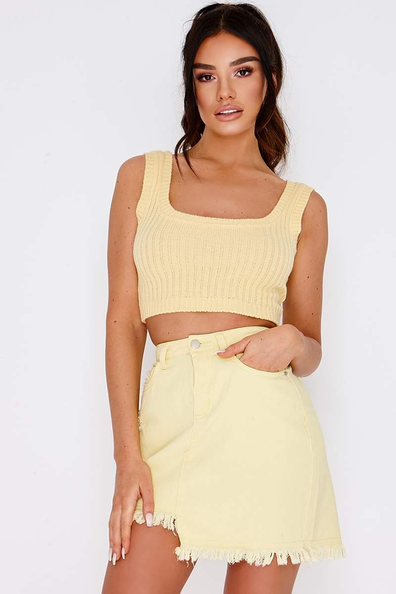 SARAH ASHCROFT LEMON ASYMMETRIC HEM DENIM SKIRT