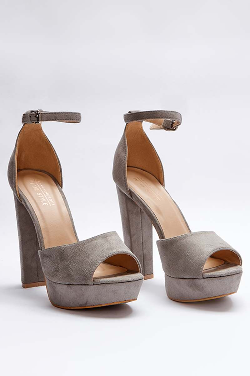 grey faux suede platform heels