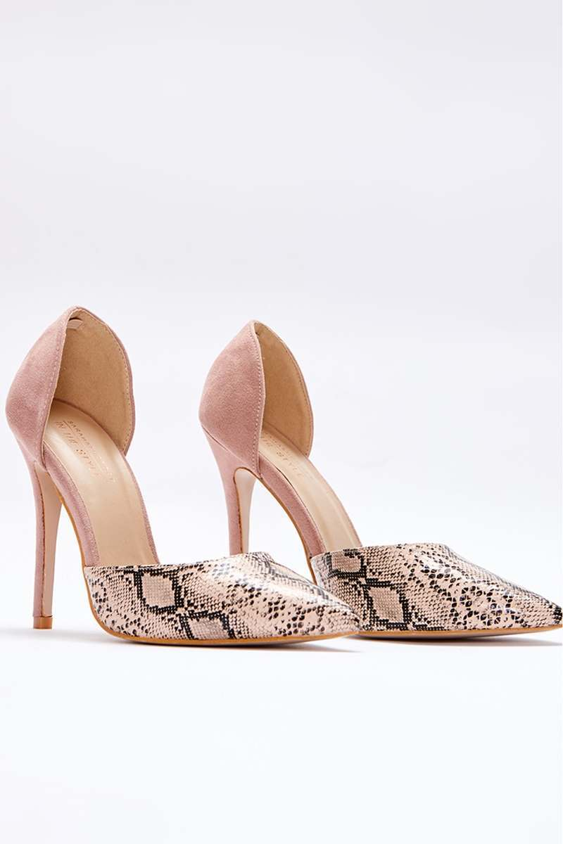 SARAH ASHCROFT NUDE SNAKE PRINT CONTRAST COURT HEELS