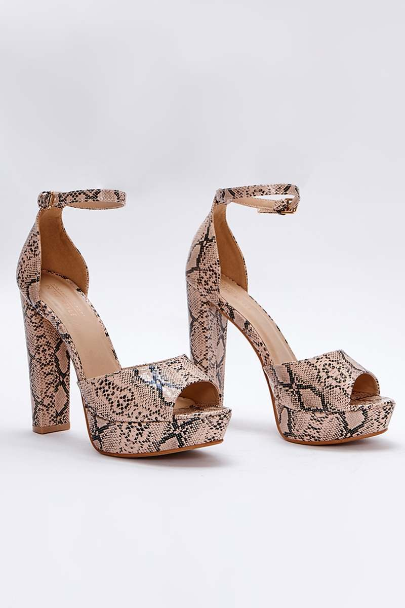 nude snake print platform heels