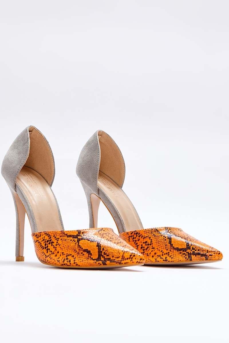 orange snake print contrast court heels