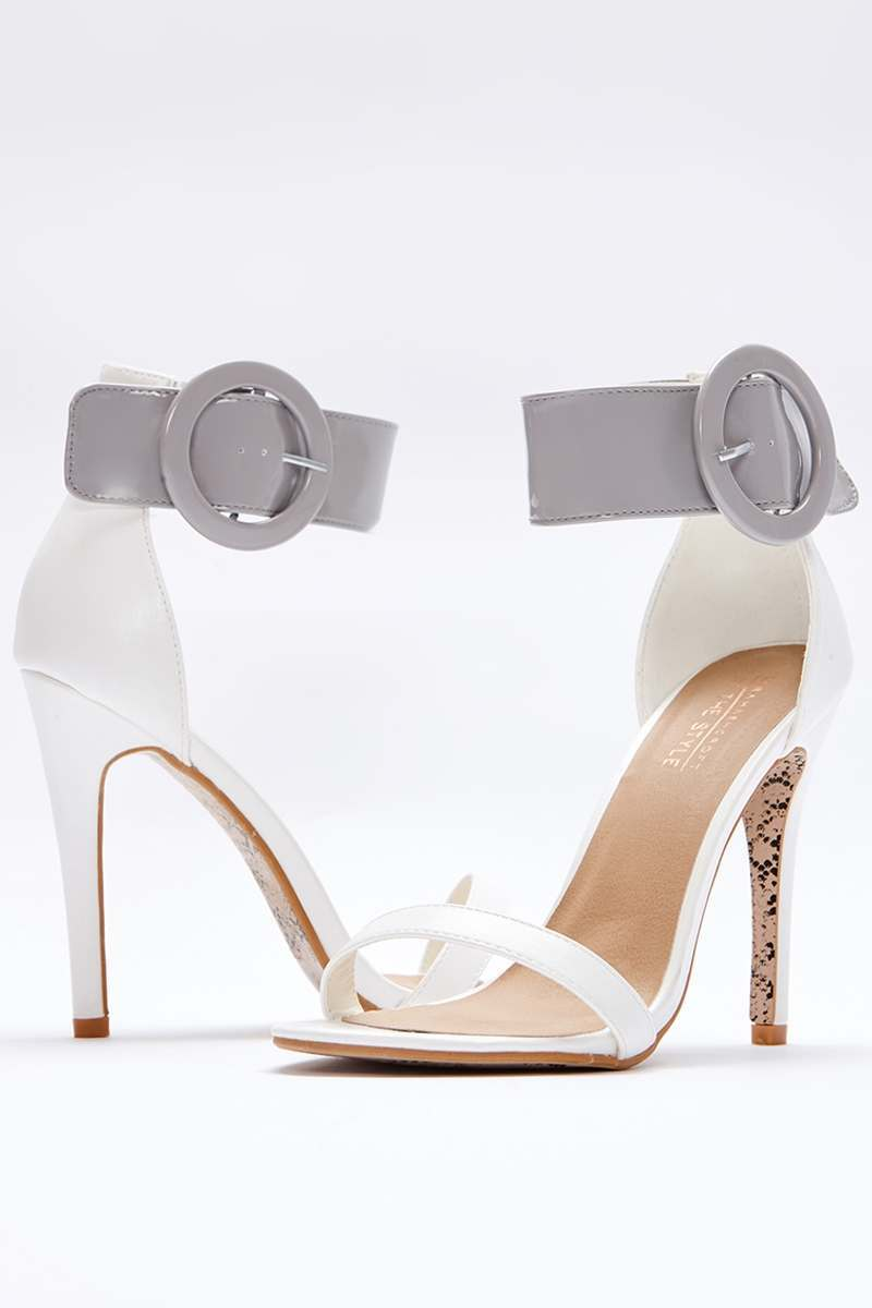 Wuran WHITE PATENT BARELY THERE HEELS