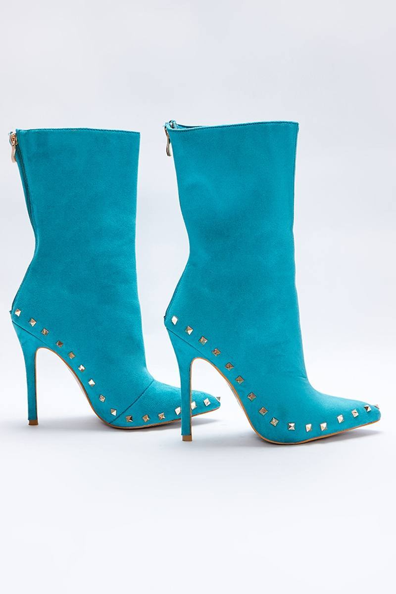 Liopa AQUA FAUX SUEDE STUDDED SOLE ANKLE BOOTS
