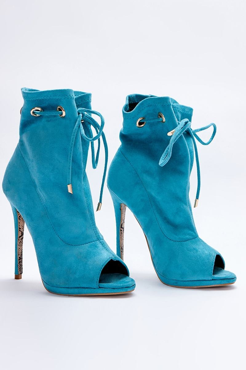 aqua faux suede paperbag peeptoe ankle boots