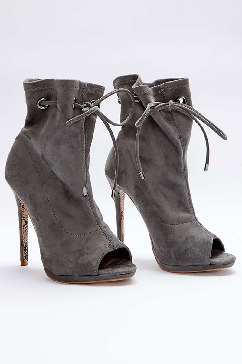 grey faux suede paperbag peeptoe ankle boots