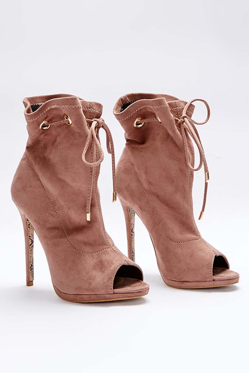 nude faux suede paperbag peeptoe ankle boots