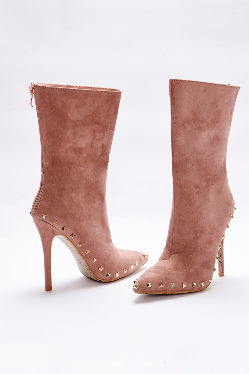 nude faux suede studded sole ankle boots