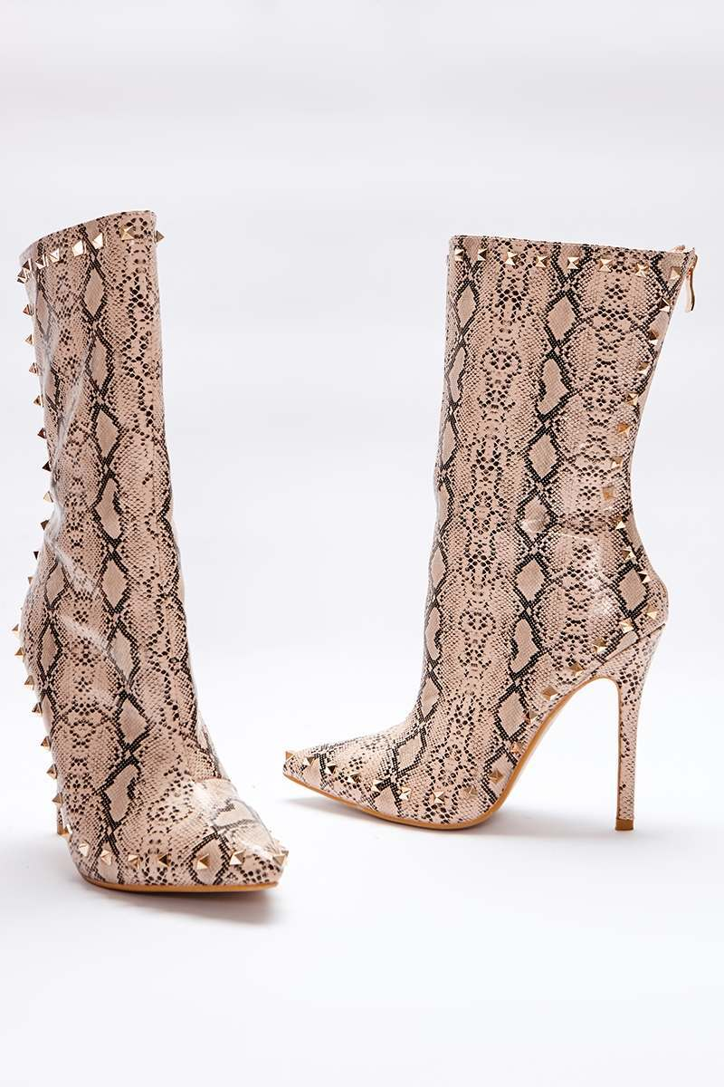 nude snake print studded sole ankle boots