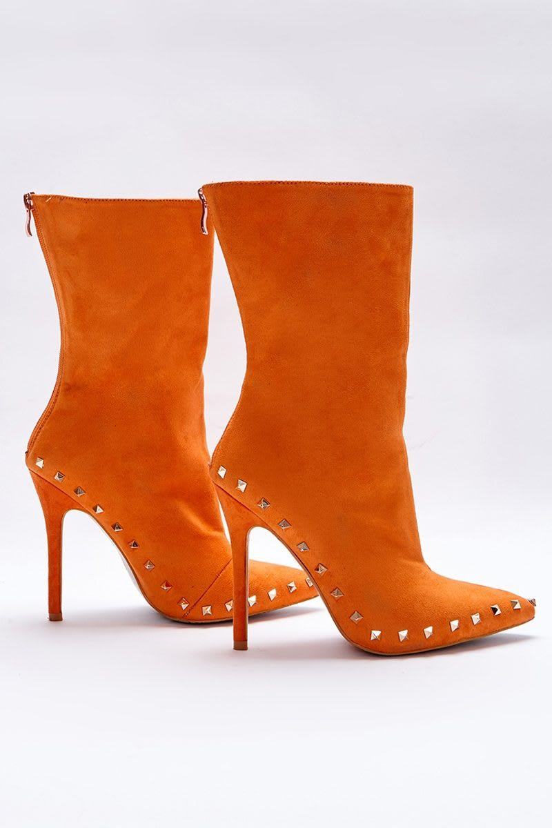 SARAH ASHCROFT ORANGE FAUX SUEDE STUDDED SOLE ANKLE BOOTS