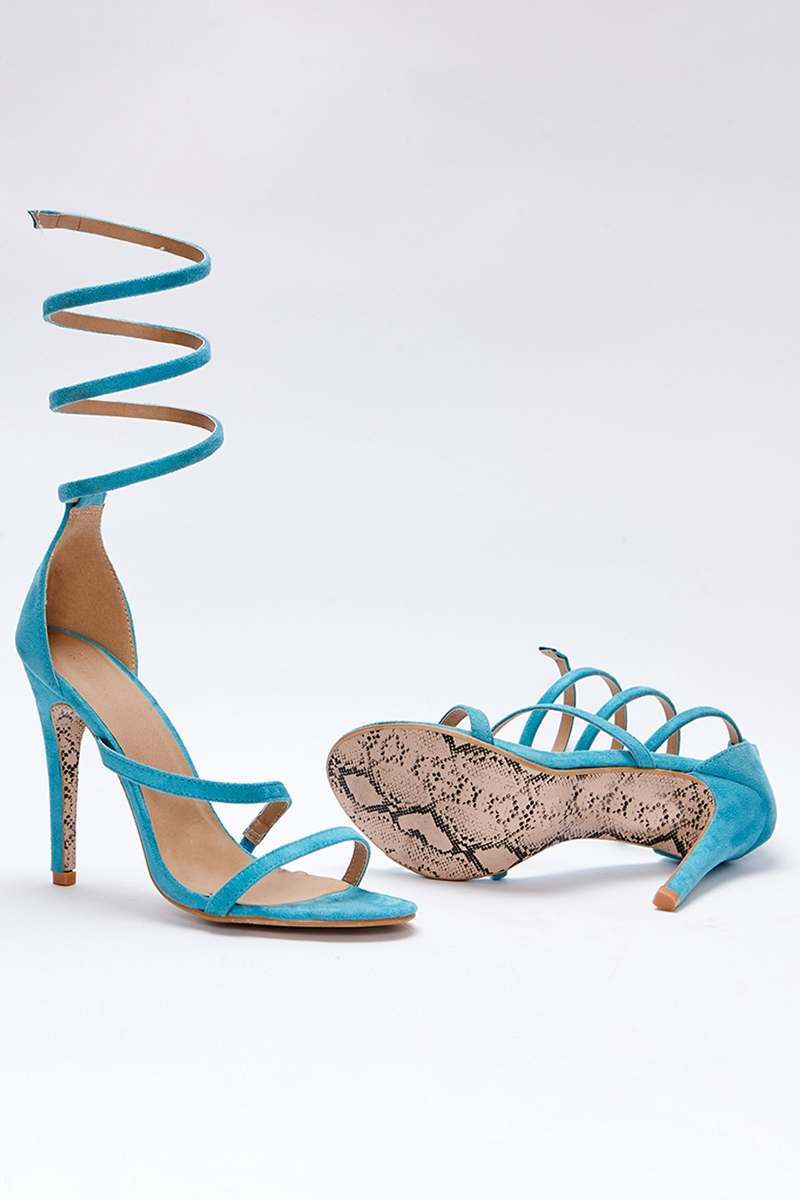 SARAH ASHCROFT AQUA FAUX SUEDE SPIRAL BARELY THERE HEELS