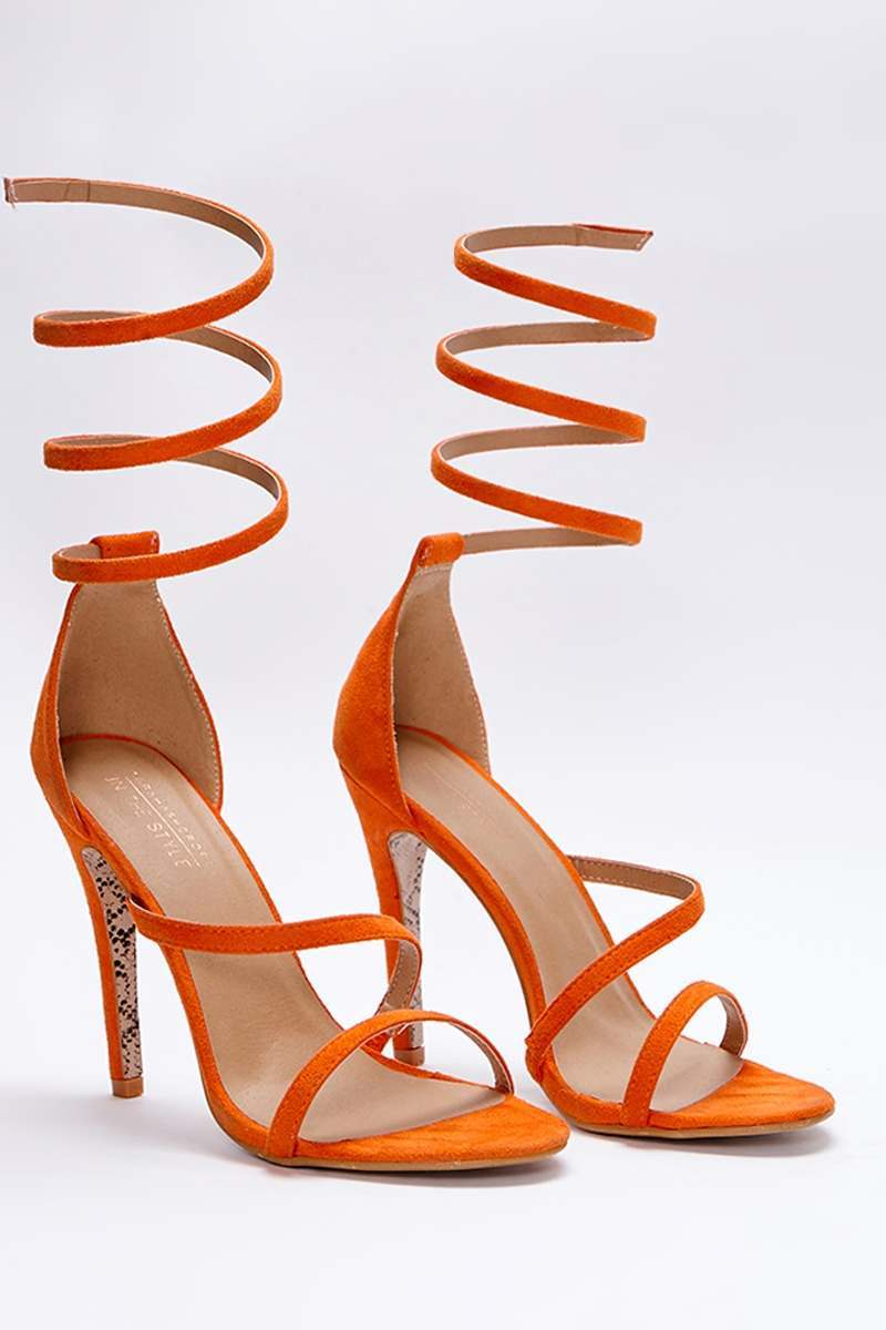 SARAH ASHCROFT ORANGE FAUX SUEDE SPIRAL BARELY THERE HEELS