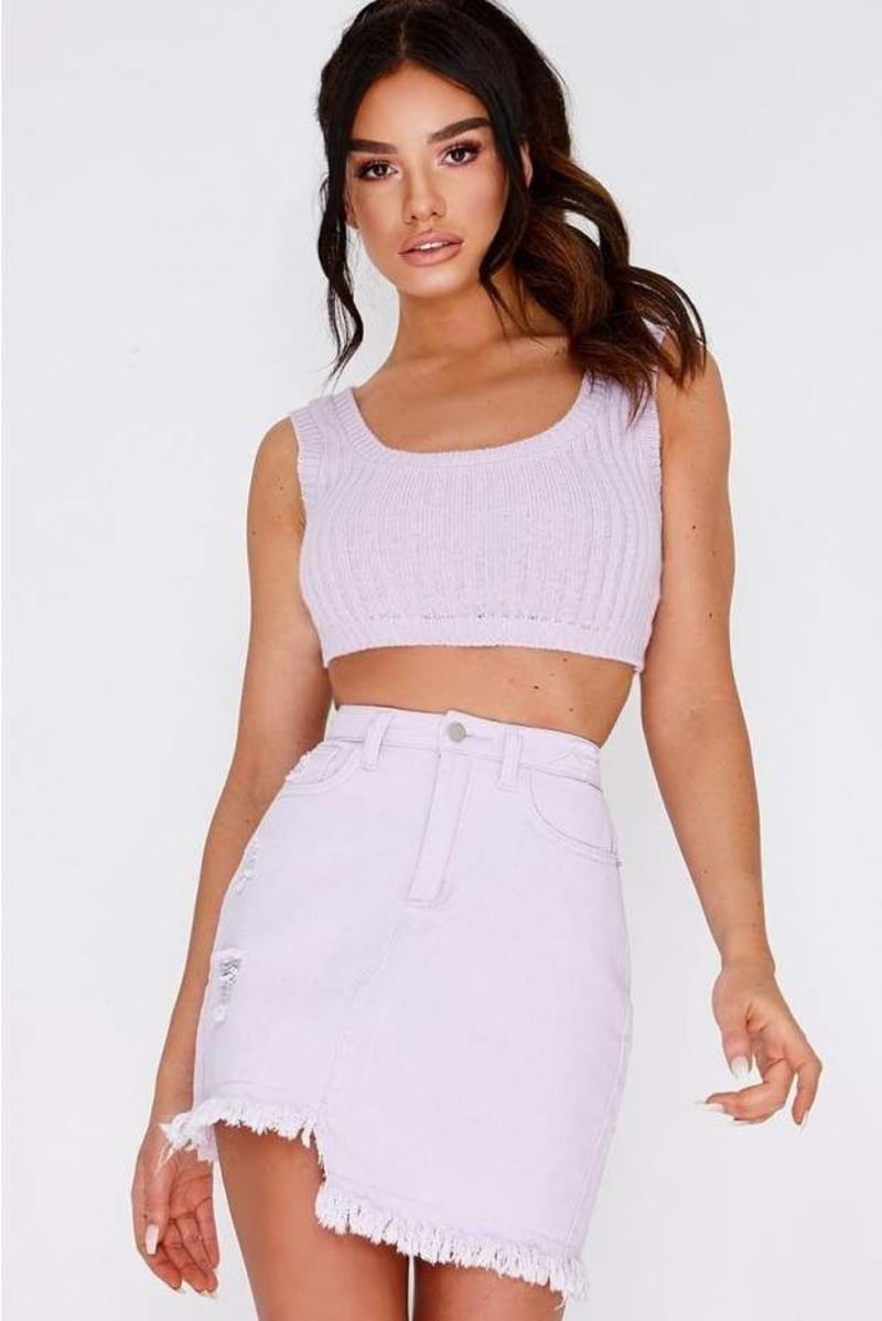 lilac ribbed knit crop top