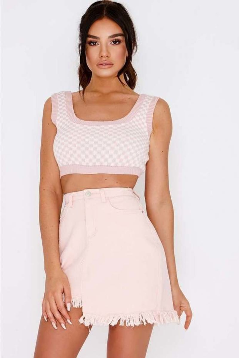 SARAH ASHCROFT PINK CHECKERBOARD RIBBED KNIT CROP TOP
