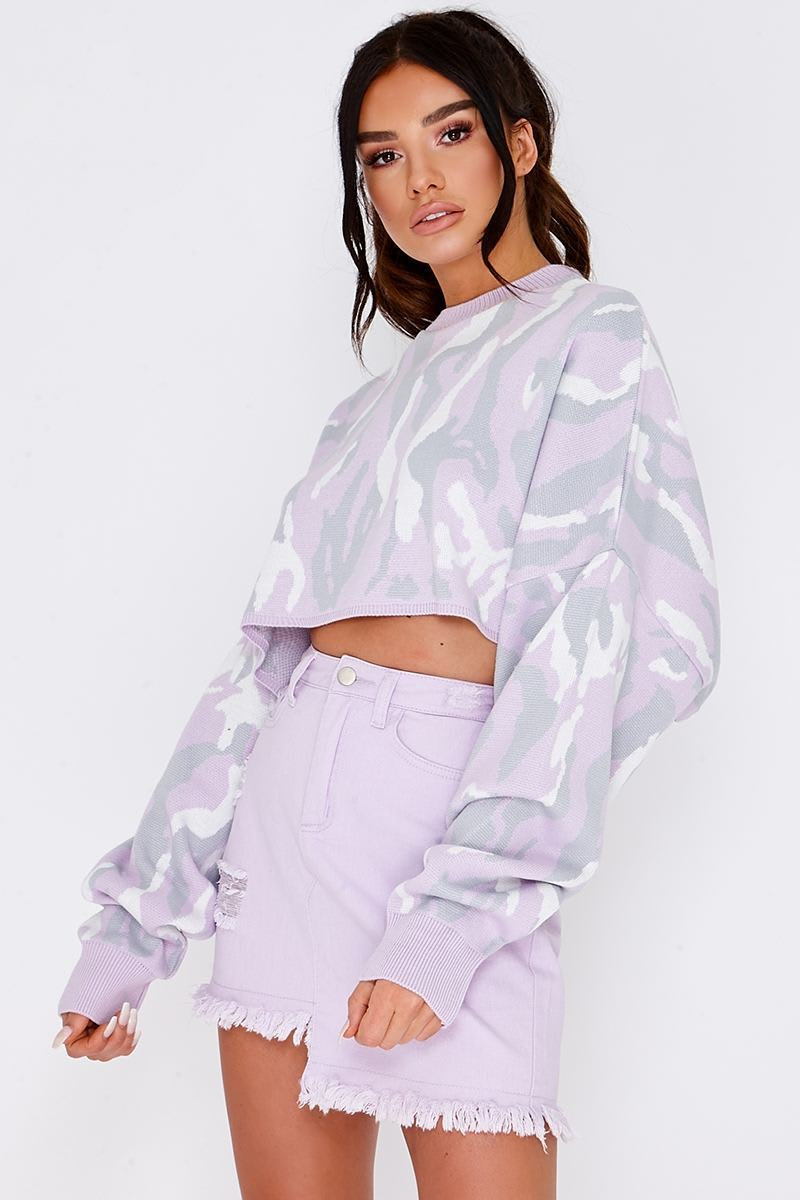 SARAH ASHCROFT LILAC CAMO PRINT CROPPED JUMPER