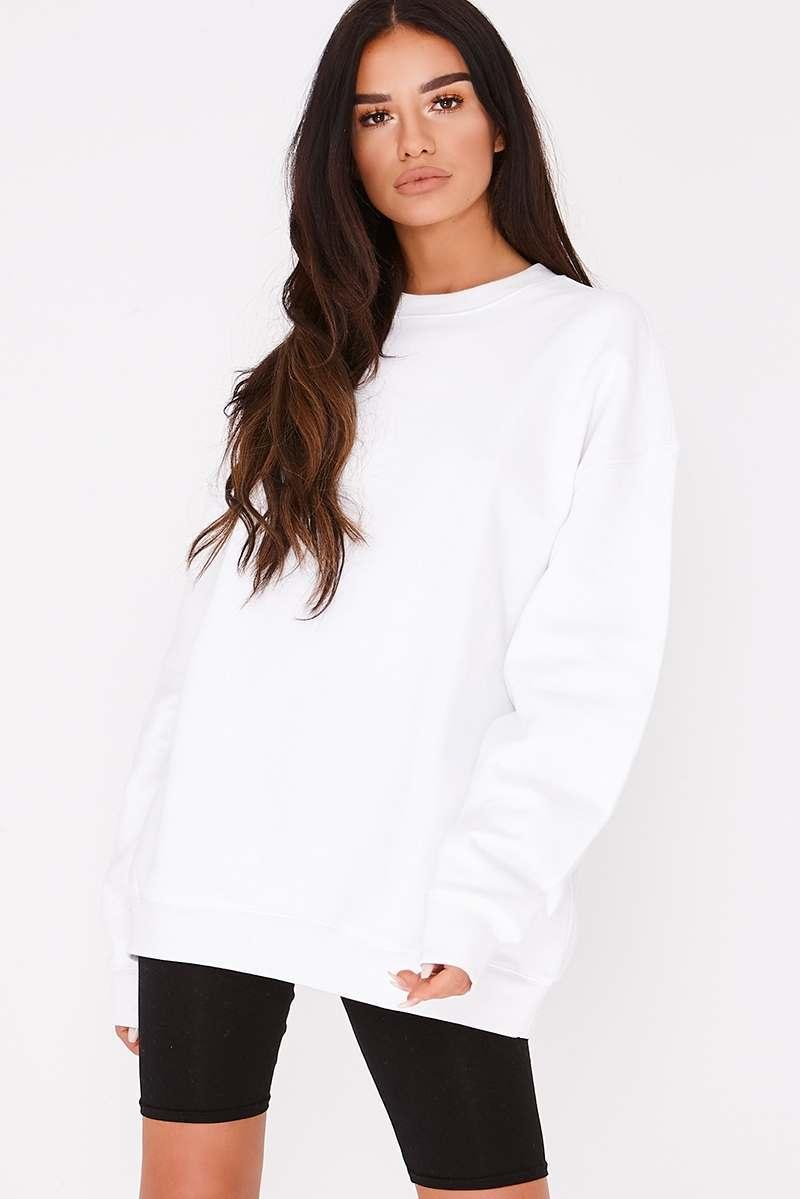 white oversized sweatshirt