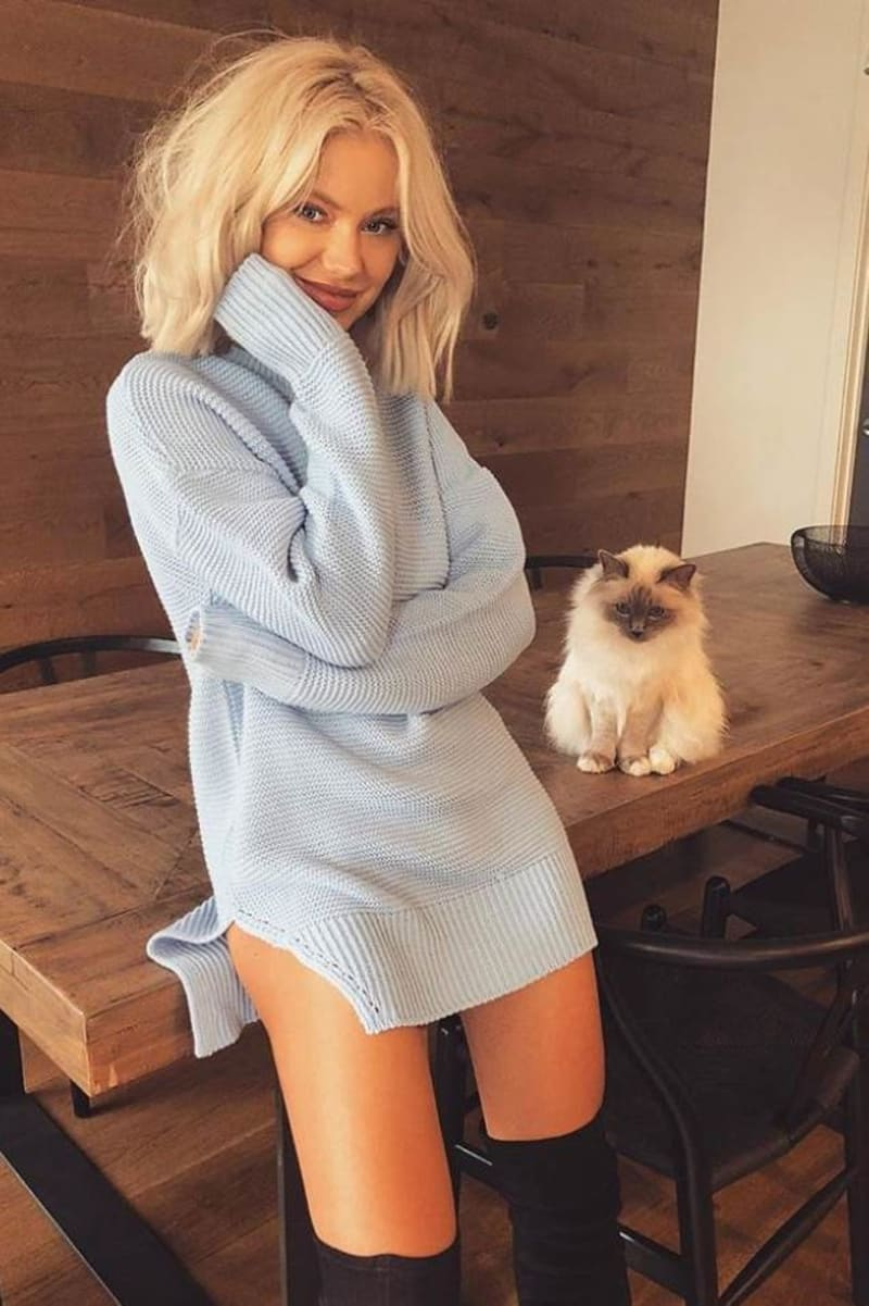 blue side split oversized jumper dress
