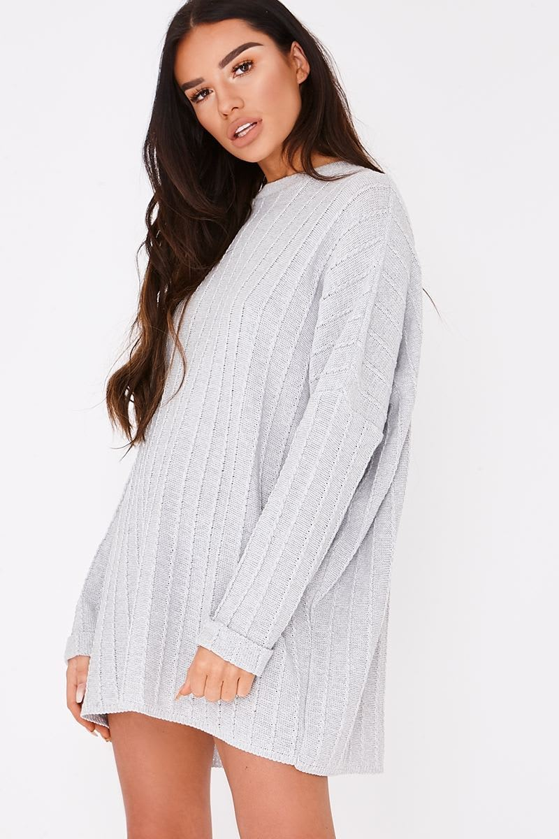 grey cable knit oversized jumper dress