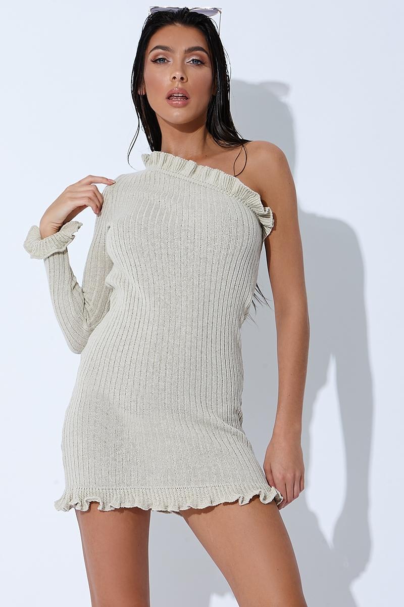 stone ribbed ruffle one sleeve mini dress
