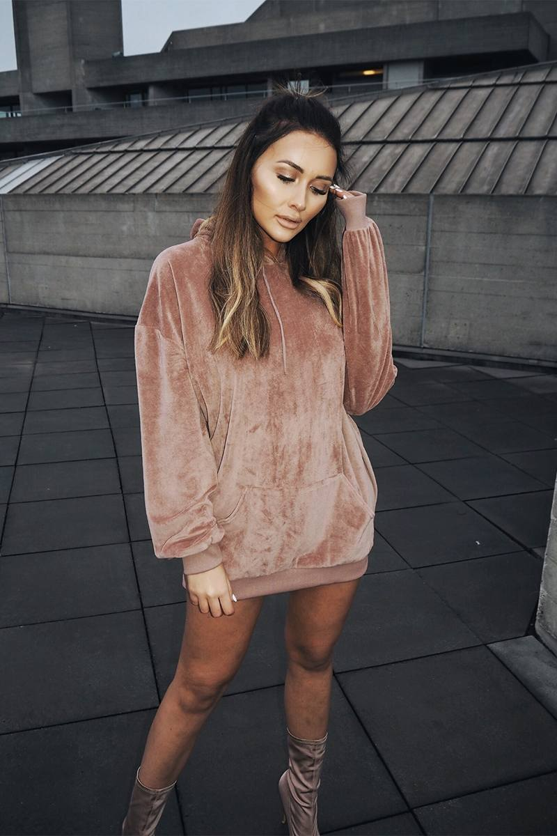 SARAH ASHCROFT DUSTY ROSE TEDDY FLEECE OVERSIZED HOODIE DRESS