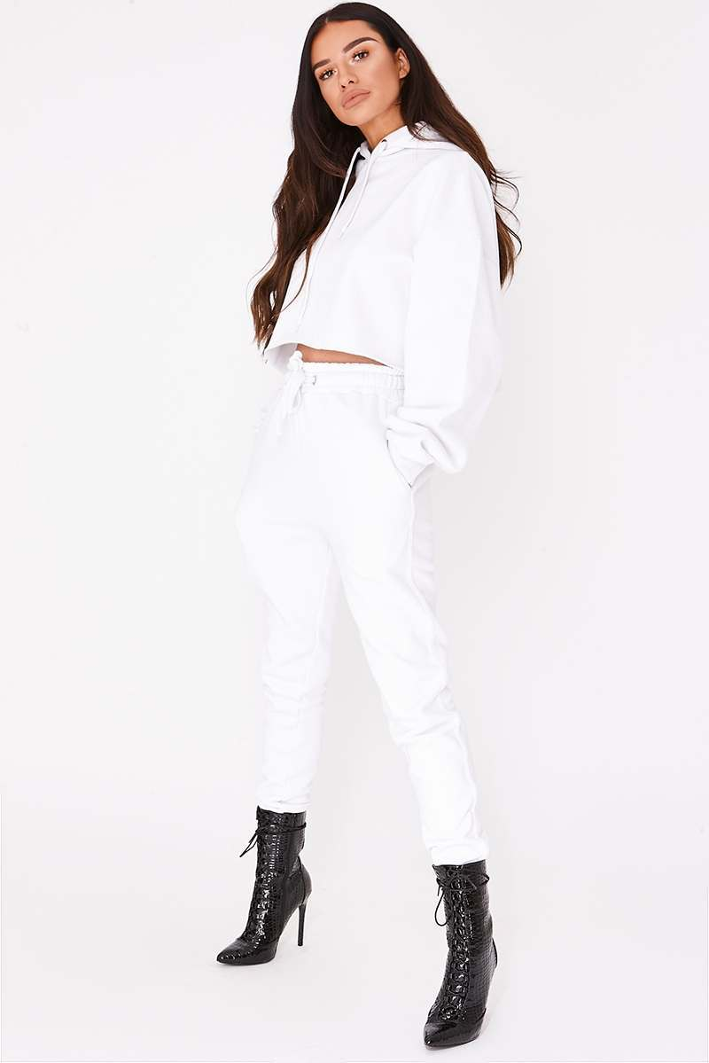 white binding detail joggers