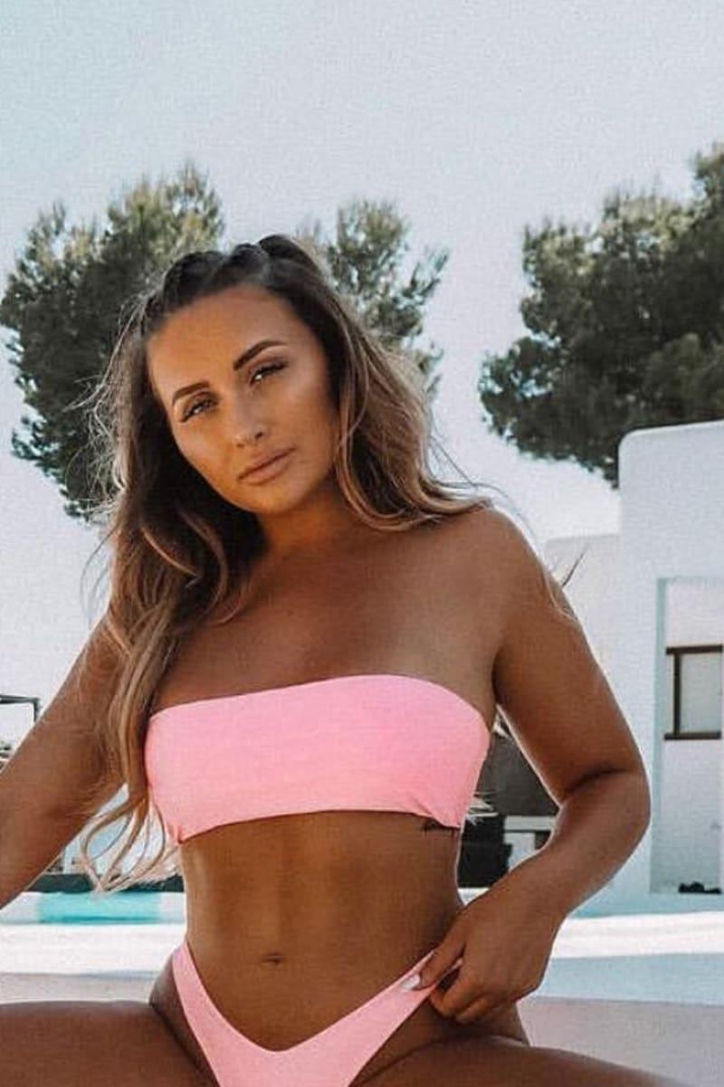pink under bust bandeau bikini top