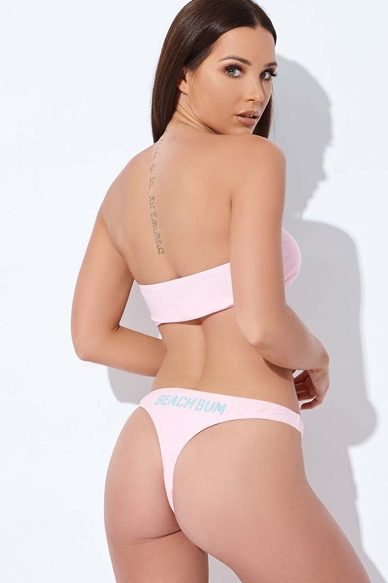 "SARAH ASHCROFT PINK ""BEACH BUM"" THONG BIKINI BOTTOMS"